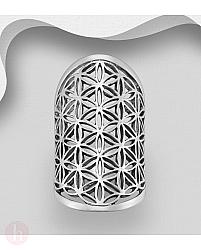 Inel supradimensionat din argint, model Flower of Life oxidat