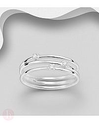 Inel triplu din argint cu cristale