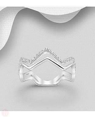 Inel zigzag din argint cu cristale