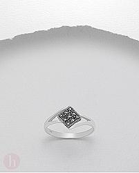 Inel argint romb cu marcasite