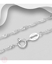 Lantisor din argint model curbat
