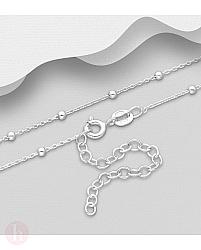 Lantisor din argint simplu, model cu bilute