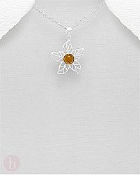 Medalion argint floare cu chihlimbar