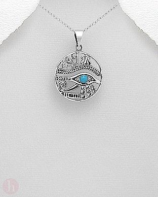 Medalion argint Ochiul lui Horus cu piatra albastra