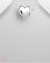 Medalion argint inima cu cornite si coada