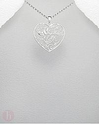 Medalion argint inima filigran flori si fluturi