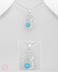 Medalion oval argint flori si piatra turcoaz