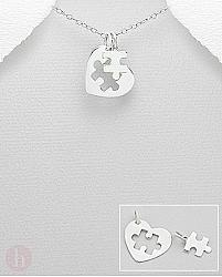 Pandant dublu argint inima puzzle