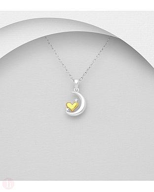 Pandant din argint cu luna, stelute si inima