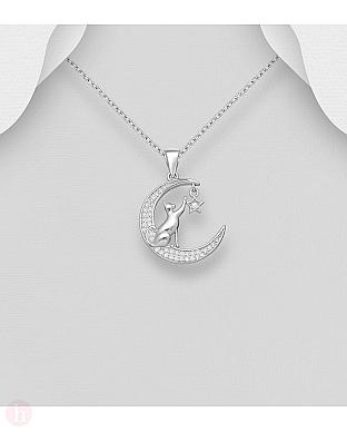 Pandant din argint cu pisica, luna, stea si cristale
