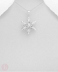 Pandant din argint model fulg de zapada cu cristal alb