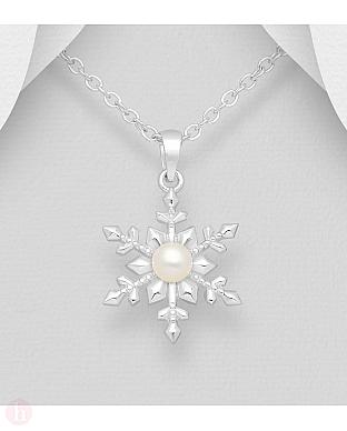 Pandantiv din argint model fulg de zapada cu perla