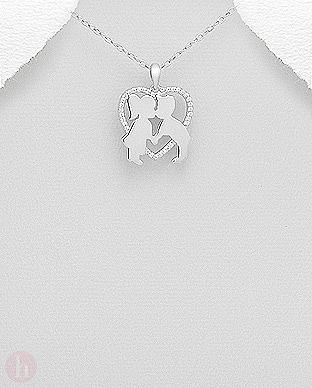 Pandant din argint model inima cu cristale si sarut fetita cu baiat