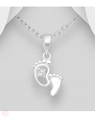 Pandant din argint model talpite cu cristal