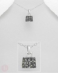 Pandantiv argint cu marcasite model poseta