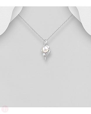 Pandantiv argint cu perla si Cubic Zirconia