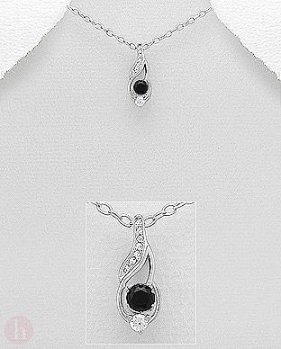 Pandantiv argint Cubic Zirconia negre si albe