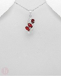 Pandantiv argint Cubic Zirconia rosii si albe