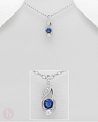 Pandantiv argint Cubic Zirconia albastre si albe