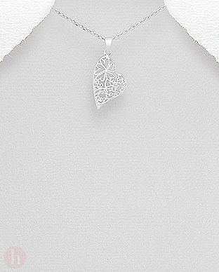Pandantiv argint inima filigran cu flori