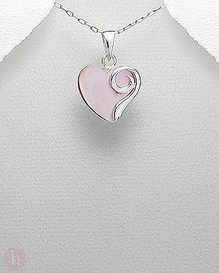 Pandantiv argint inima roz