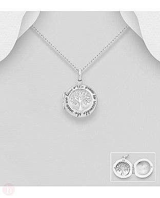 Pandantiv argint pentru fotografie model Tree of Life si mesaj