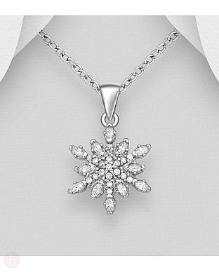 Pandantiv din argint cu cristale, model fulg de zapada