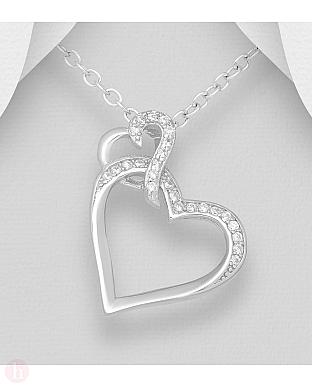 Pandantiv din argint cu doua inimi si cristale