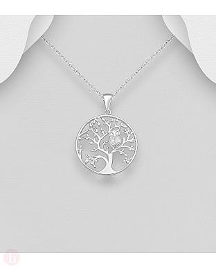 Pandantiv din argint model bufnita in copac