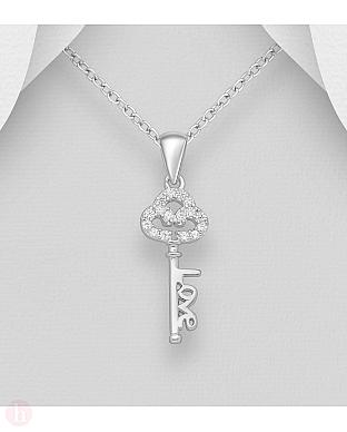 Pandantiv din argint model cheie cu cristale si text Love