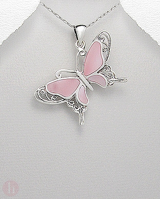 Pandantiv din argint model fluture cu aripi roz