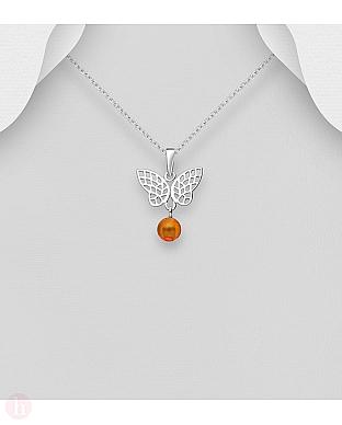 Pandantiv din argint model fluture cu chihlimbar