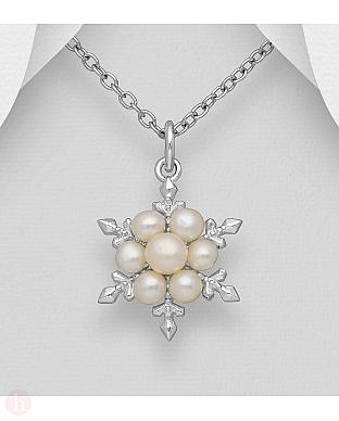 Pandantiv din argint model fulg de zapada cu perle
