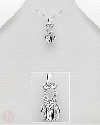 Pandantiv din argint model girafe indragostite