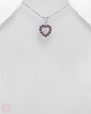 Pandantiv din argint model inima cu pietre semipretioase violet
