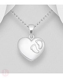 Pandantiv din argint model inima si talpite