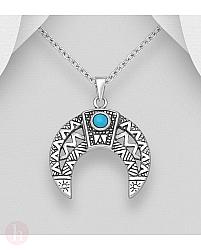 Pandantiv din argint model luna cu piatra turcoaz