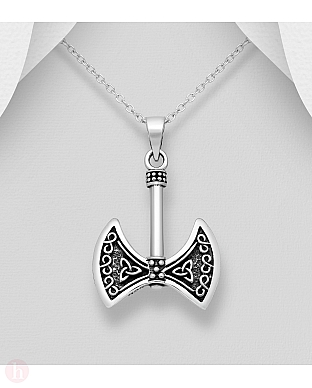 Pandantiv din argint model topor cu triskelion