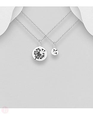 Pandantive din argint pentru mama si fiica, model cu papadie