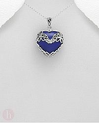 Pandantiv argint inima albastra lapis lazuli