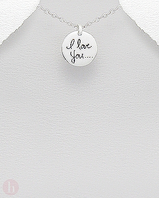Pandantiv rotund din argint cu mesaj I Love You