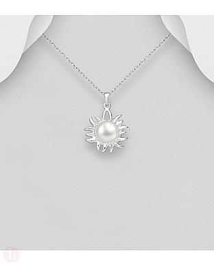 Pandantiv soare din argint cu perla alba