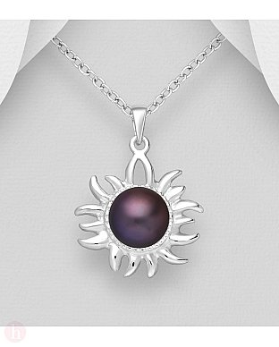 Pandantiv soare din argint cu perla neagra