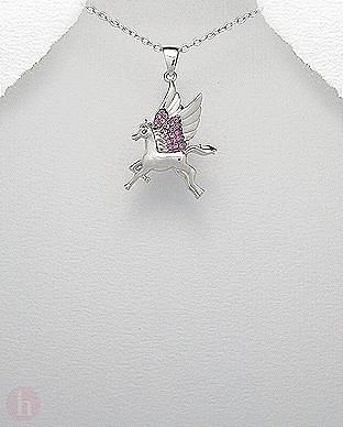 Pandantiv unicorn pegas argint cu pietre roz