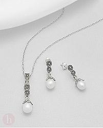 Set argint cu marcasite si perle albe