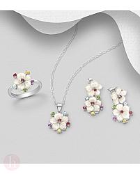 Set cercei, pandantiv si inel din argint model flori cu pietre colorate