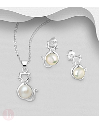 Set cercei si pandantiv argint model pisica si perla