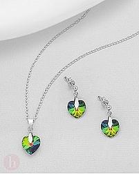 Set cercei si pandantiv cristal inimioara Swarovski
