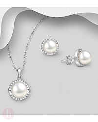 Set cercei si pandantiv cu perle si cristale