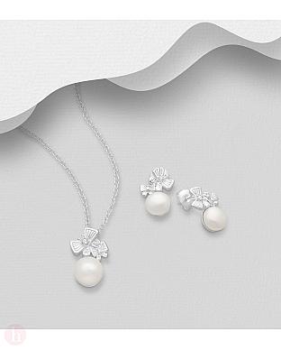 Set cercei si pandantiv din argint model fluturi si perle